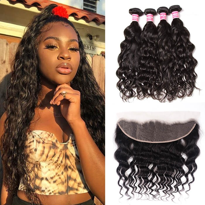 Kriyya Peruvian Natural Wave 13x4 Lace Frontal Sew In With 4 Bundles Human Hair