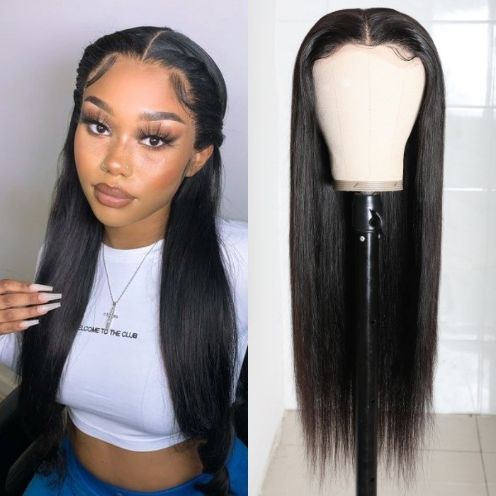 Kriyya HD Transparent Lace Wigs Straight Wigs 180 Density 5X5 Lace Closure Wig Human Hair 16-28 Inch