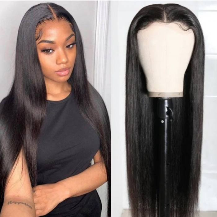 Kriyya HD Transparent Lace Wigs Straight Wigs 180 Density 5X5 Lace Closure Wig Human Hair 16-28 Inch