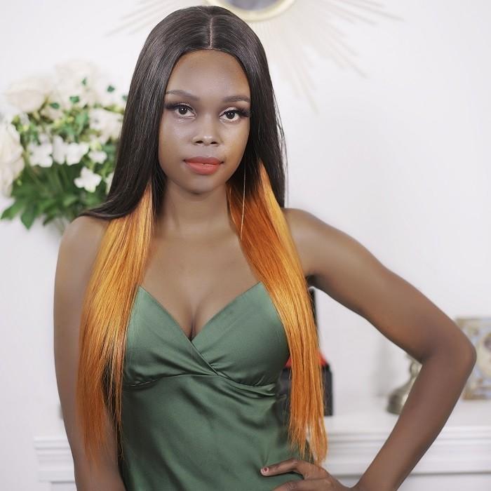 Kriyya Straight PU Skin Base Wig 4.5*1.5 Middle Part Hidden Orange Highlights 150% Density