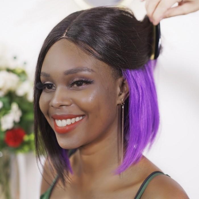 Kriyya Bob Wigs Hidden Purple Highlights Hair Glueless Wigs 150% Density 8-14 Inch