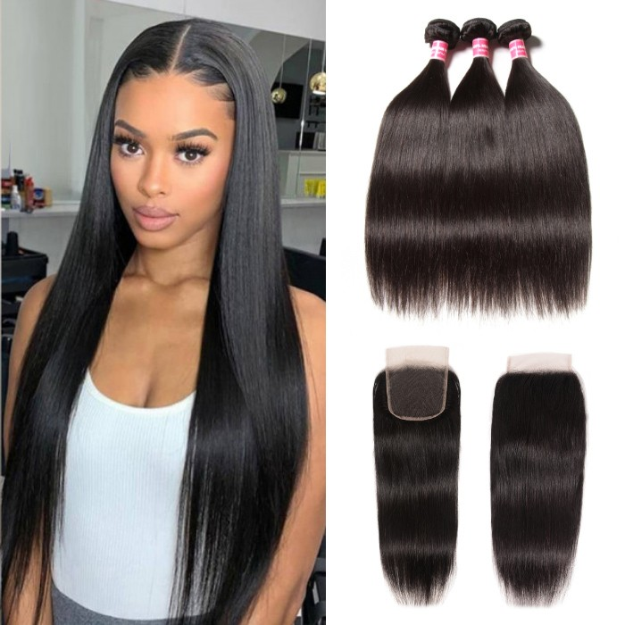 Kriyya Affordable Straight Peruvian Human Hair 3 Bundles With 4X4 Closure Free Part