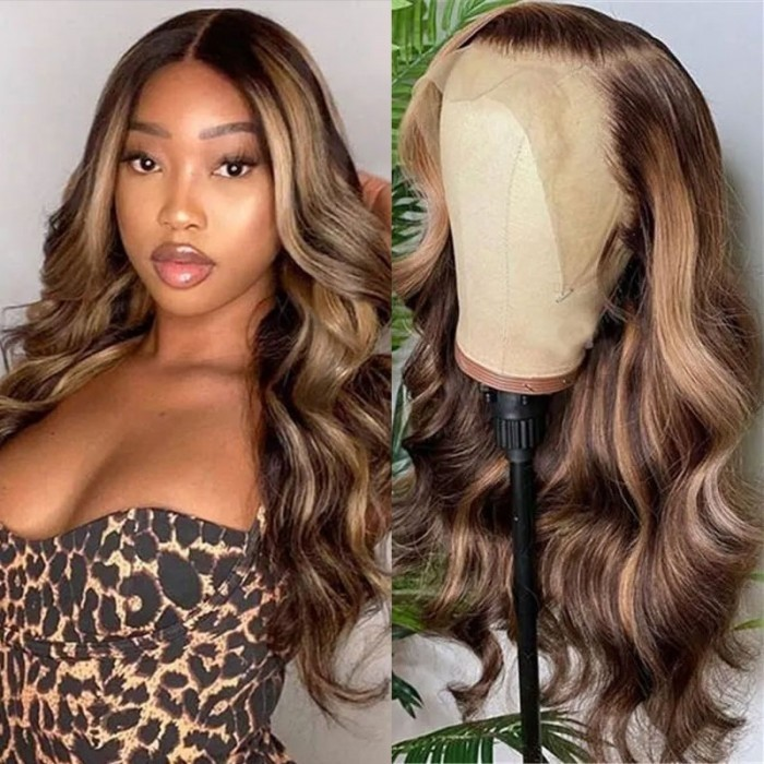 Kriyya Honey Blonde Highlight Ombre Body Wave Human Hair Wig Piano Colored 13x4 Lace Front Wigs 150% Density