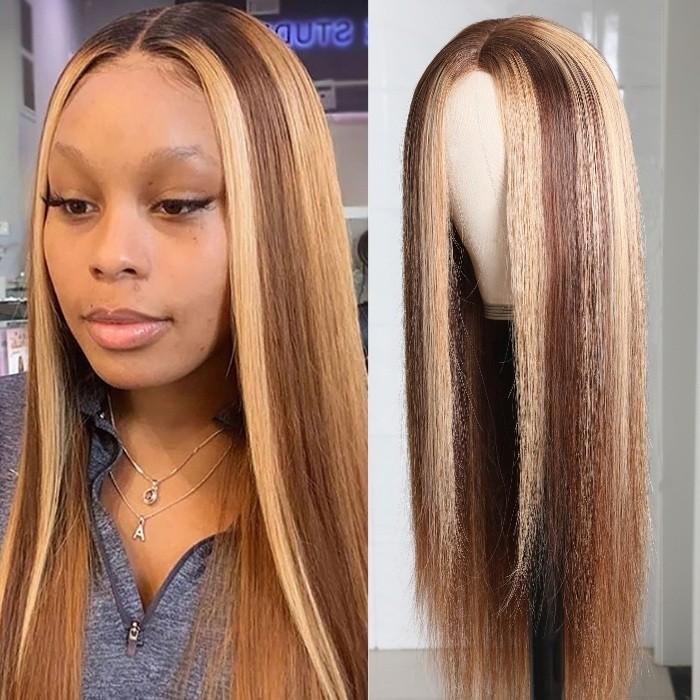 Kriyya Straight Wigs Blonde Highlight 4.5*1.5 Middle Part PU Skin Base Wig 150% Density