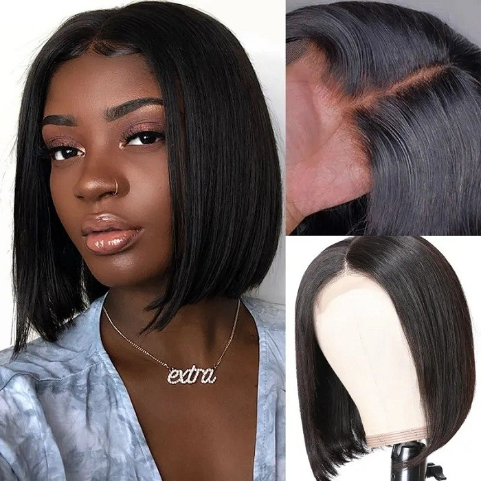 Kriyya Blunt Cut Straight Bob Wigs 4x4 Lace Closure Wig 150% Density Remy Human Hair Bob