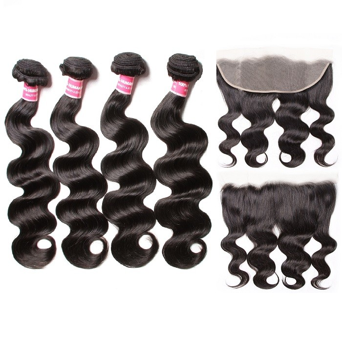 Kriyya Best 13x4 Transparent Hd Lace Frontal With 4 Bundles Body Wave Weave