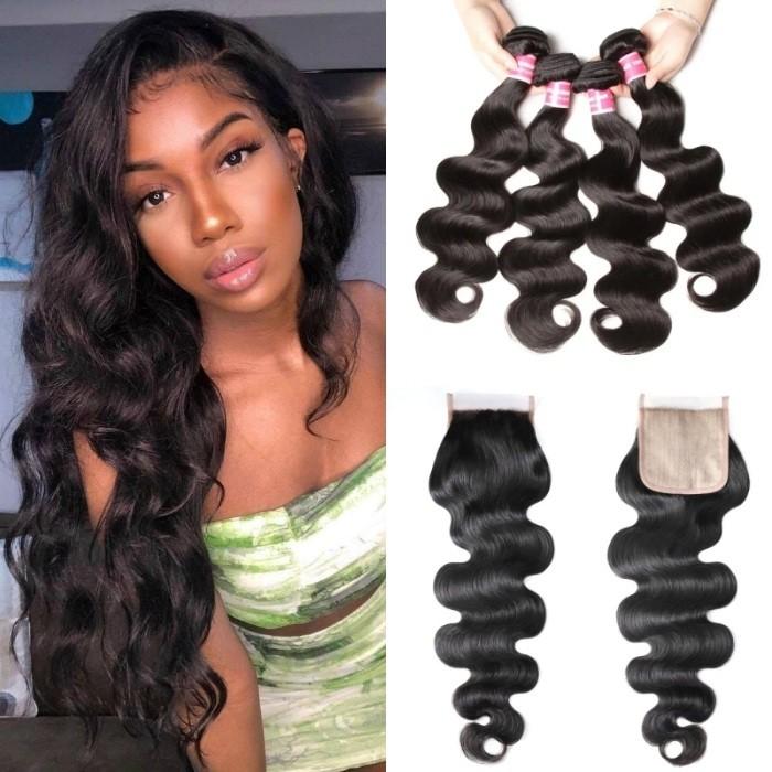 Kriyya Body Wave 4 Bundles With 4x4 Fake Scalp Closure PU Skin Closure Virgin Hair Natural Black