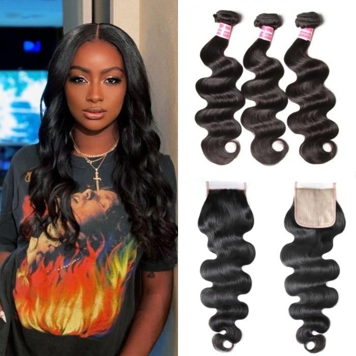 Kriyya Body Wave Hair 3 Bundles With 4x4 Skin PU Closure Virgin Hair Fake Scalp Closure Natural Black