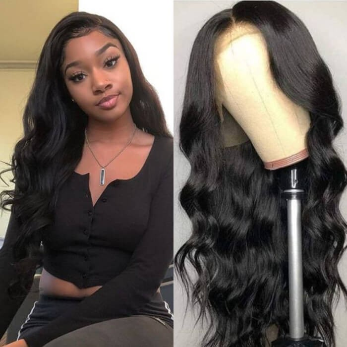 Kriyya Pre Plucked 13x6 Lace Frontal Wig 180% Density Remy Body Wave Human Hair Wigs