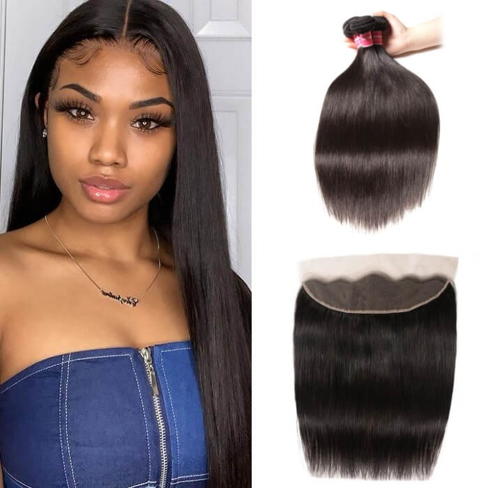 Kriyya 3 Bundles Brazilian Virgin Remy Hair Straight With 13*4 Lace Frontal