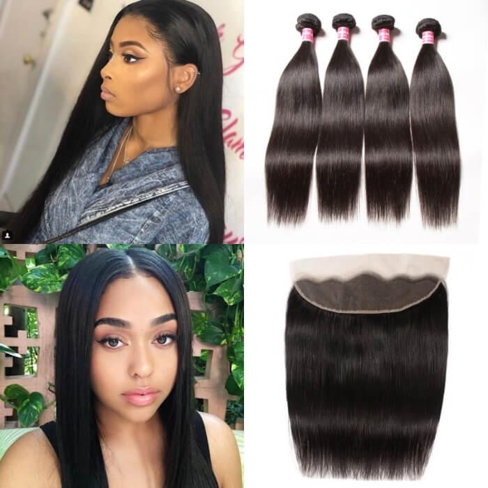 Kriyya 13x4 Ear To Ear Frontal With 4 Bundles Peruvian Straight Virgin Hair