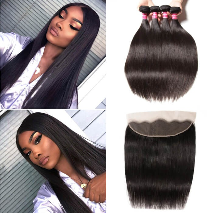 Kriyya Indian Straight Weave 4 Bundles Deals With 13x4 Lace Frontal Closure