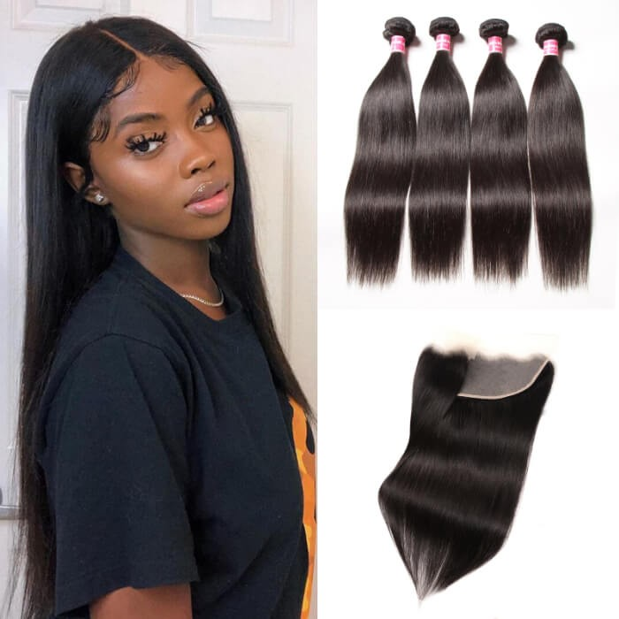 Kriyya Peruvian Straight Sew In Weave 4 Bundles With 13x4 Transparant Lace Frontal