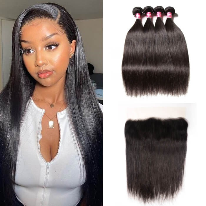 Kiryya Malaysian Human Hair 4 Bundles With 13x4 Transparent Lace Frontal  Straight Hairstyles