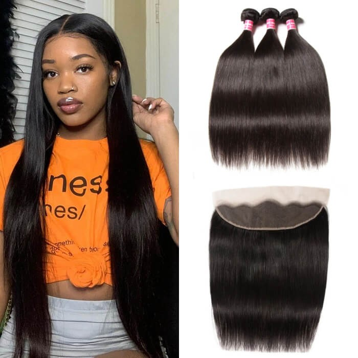 Kriyya Peruvian Straight Virgin Remy Hair 3 Bundles With 13*4 Lace Frontal