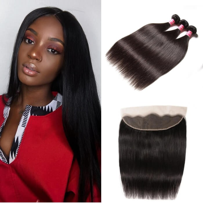 Kriyya Malaysian 3 Bundles Straight Human Hair Best Weave Hair With 13*4 Lace Frontal