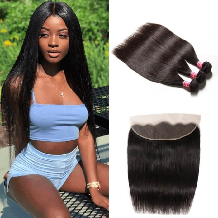 Kriyya 3 Pcs Indian Straight Virgin 100 Human Hair With 13*4 Lace Frontal
