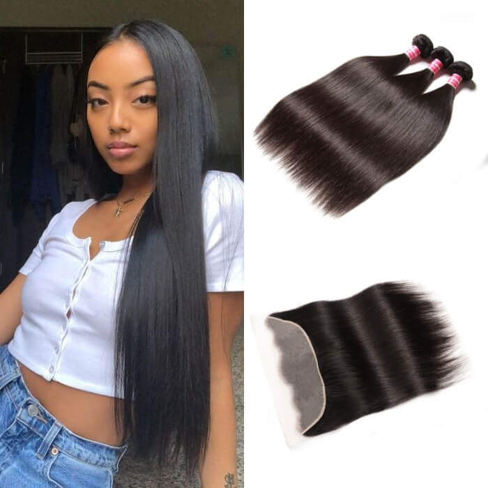 Kriyya Straight 100% Virgin Human Hair 3 Bundles With Transparent Lace Closure 13*4 Inch
