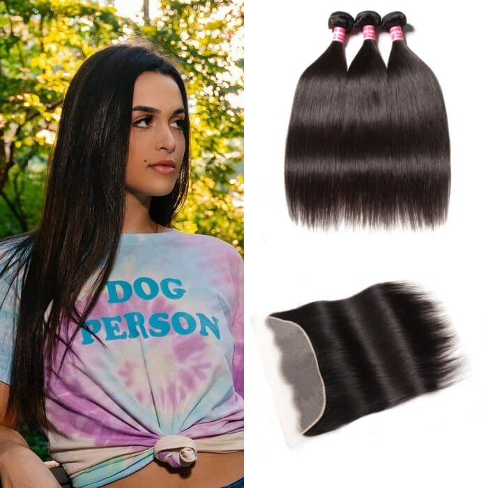 Kriyya Indian Straight Remy Human Hair 3 Bundles With 13*4 Transparent Lace Frontal