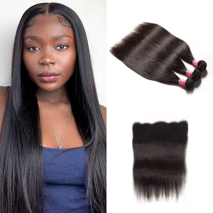 Kriyya Straight 100% Virgin Hair Malaysian 3 Bundles With 13*4 Transparent Lace Frontal