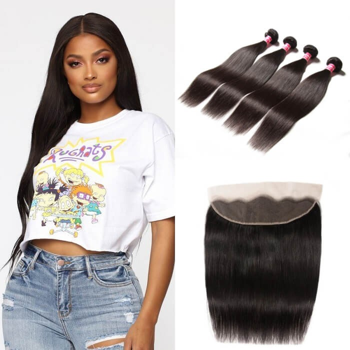 Kriyya Brazilian Straight Hair 13x4 Lace Frontal Closure With 4 Bundles