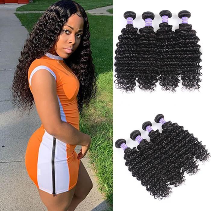 Kriyya Deep Wave Hair Peruvian Human Hair Weave 4 Pcs 7A Human Hair