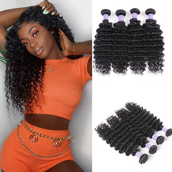 Kriyya Deep Wave Malaysian Human Hair Bundles Deals 4pcs Unprocessed 7A Virgin Hair