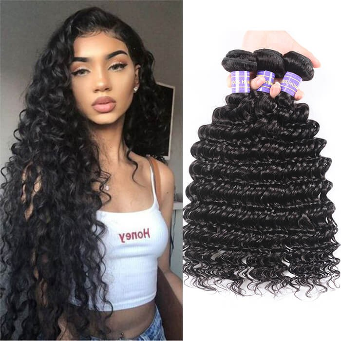 Kriyya Deep Wave Bundles 3 Bundles Brazilian 100% Human Hair
