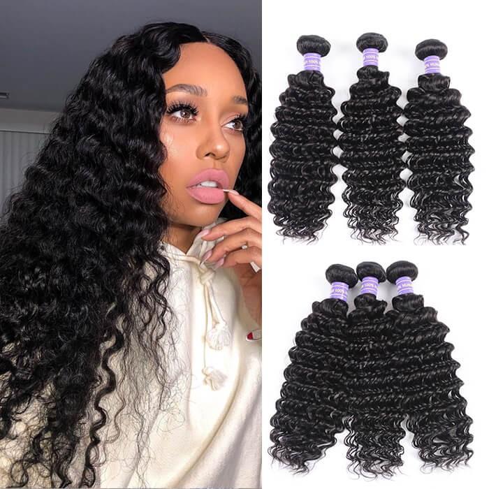 Kriyya Deep Wave 3 Bundles Virgin Indian Human Hair Weave