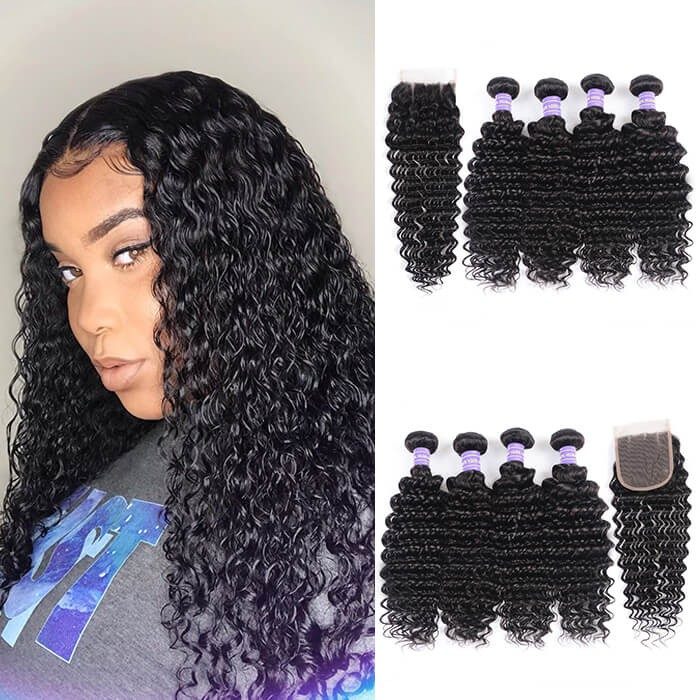 Kriyya Deep Wave Hair 4 Bundles With Closure Malaysian Hair