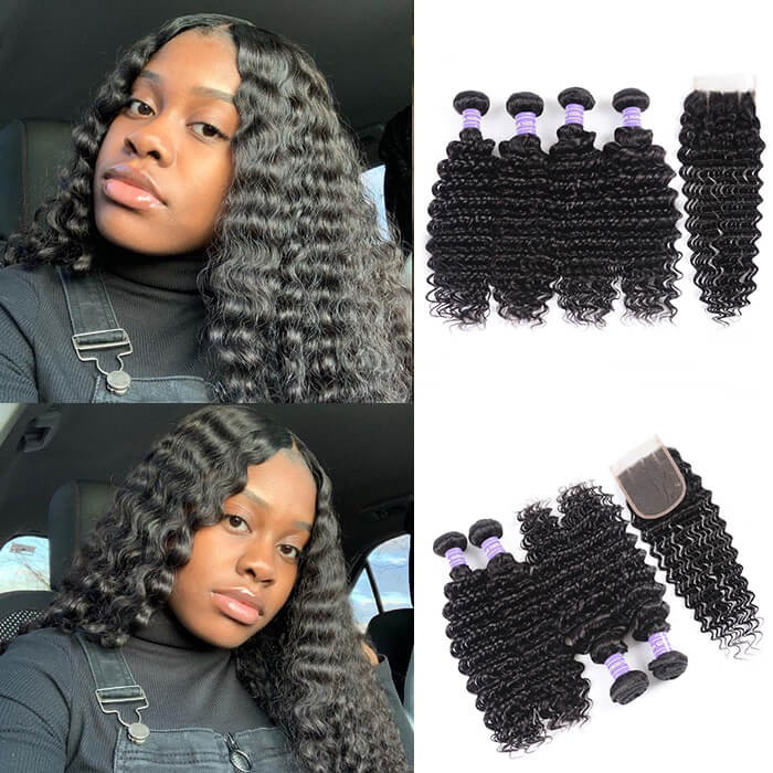 Kriyya Indian Deep Wave Closure With 4 Bundle Deals Virgin Human Hair