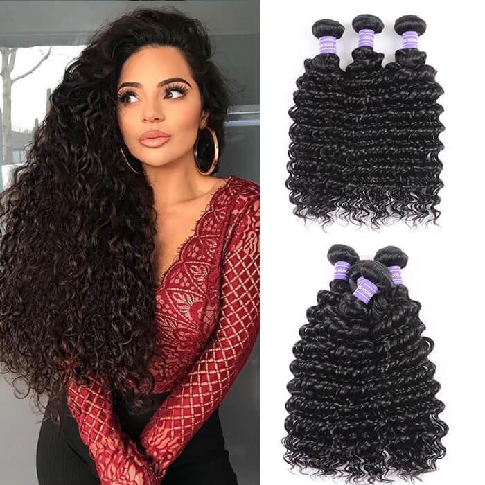 Kriyya Deep Wave Hair Malaysian Virgin Hair Weave 3 Pcs 7A Human Hair