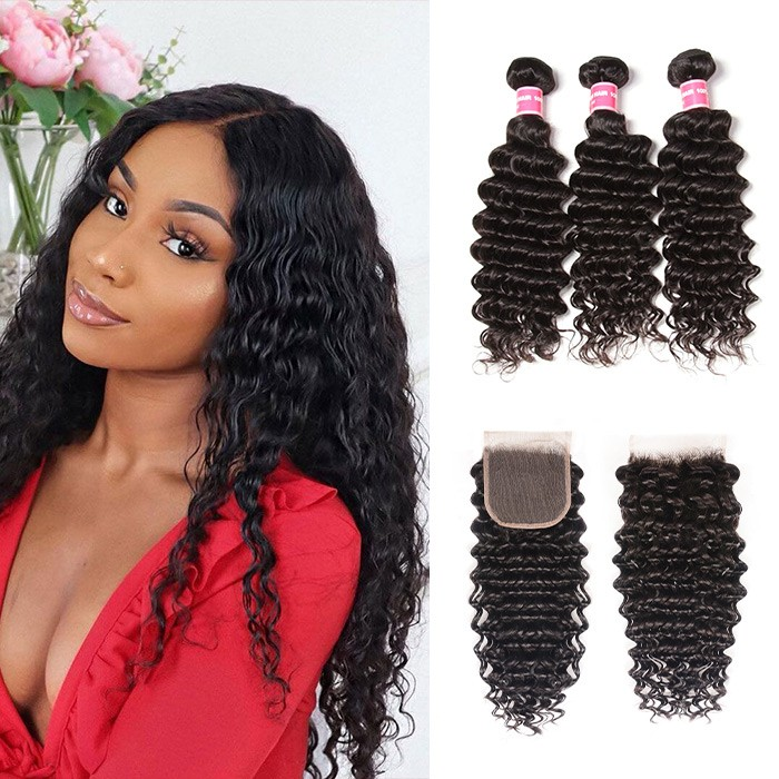 Kriyya Brazilian Deep Wave Human Hair 4X4 Closure With 3 Bundles Deals