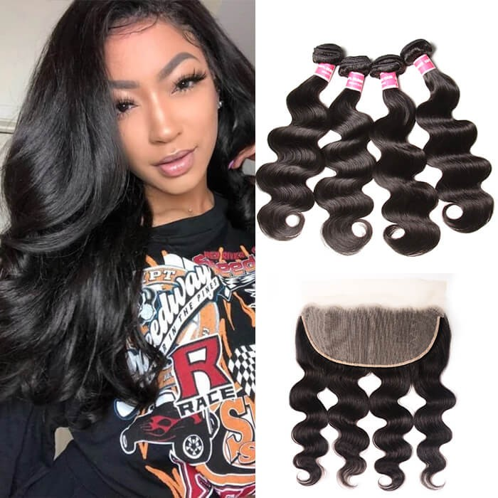 Kriyya Body Wave 13x6 Brazilian Lace Frontal With 4 Bundles Virgin Hair