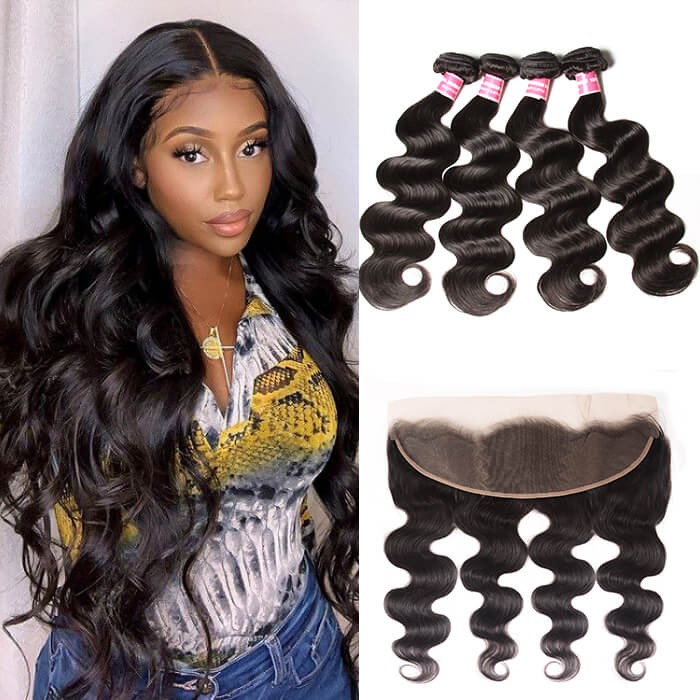 Kriyya Brazilian Body Wave 13x4 Ear To Ear Frontal And 4 Bundles