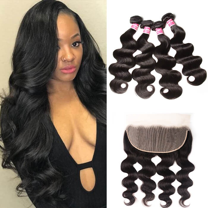 Kriyya  Body Wave Hair 4 Bundles With 13x4 Lace Frontal Indian Human Hair