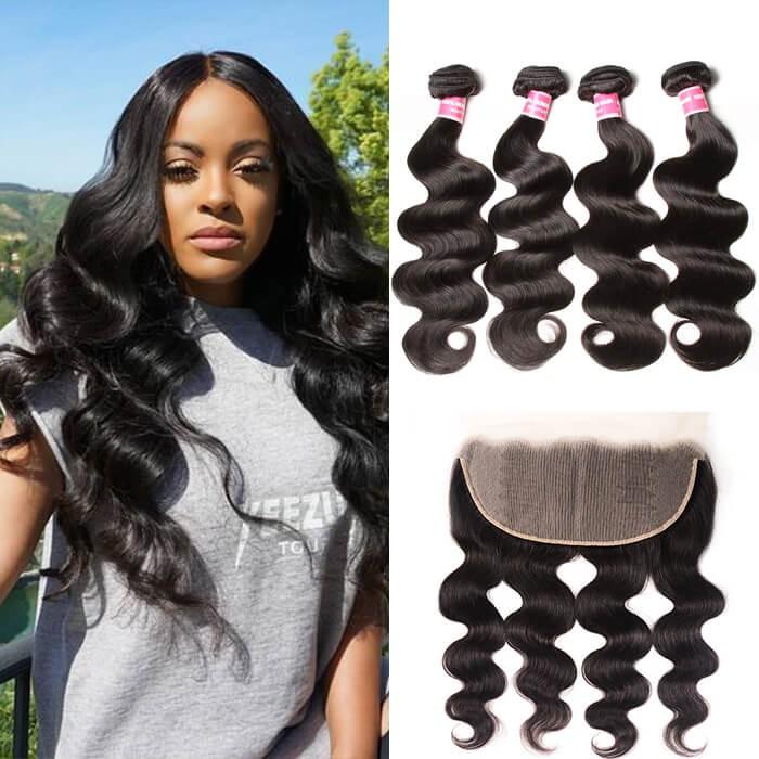 Kriyya 13x6 Ear To Ear Lace Frontal With 4Bundles Malaysian Body Wave Hair