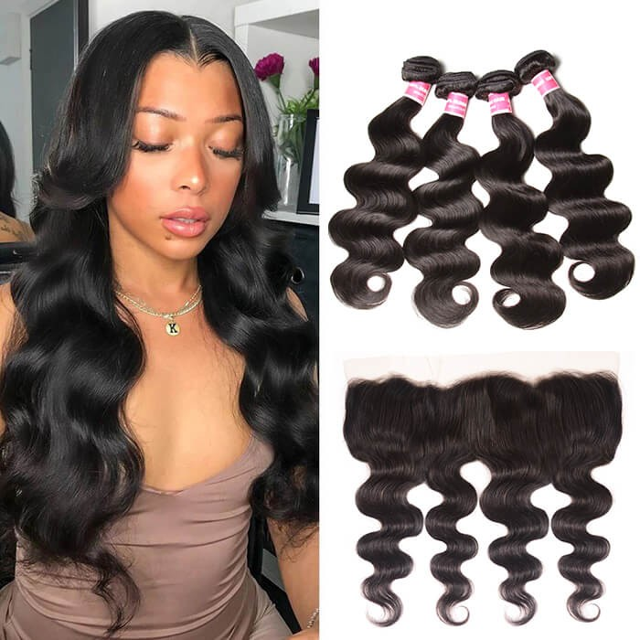 Kriyya Peruvian Body Wave Hair Weave 4 Bundles Sew In With 13x4 Lace Frontal