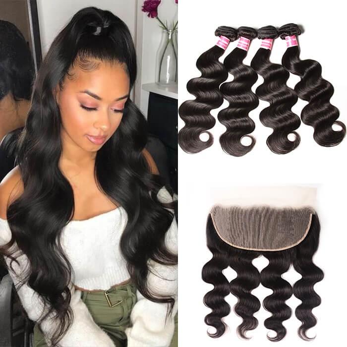 Kriyya Peruvian Body Wave 13x6 Full Lace Frontal Sew In With Virgin Hair 4 Bundles