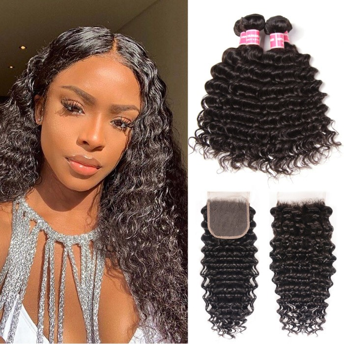 Kriyya 4 Bundles Peruvian Deep Wave Hair With 4X4 Closure