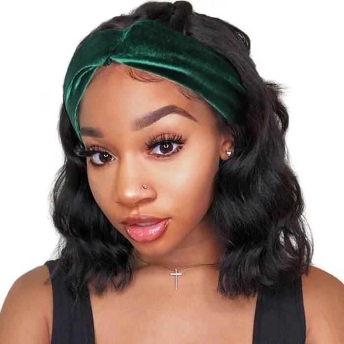 Kriyya Human Hair Headband Wigs Body Wave Glueless Human Hair Bob Wigs 150% Density Natural Color