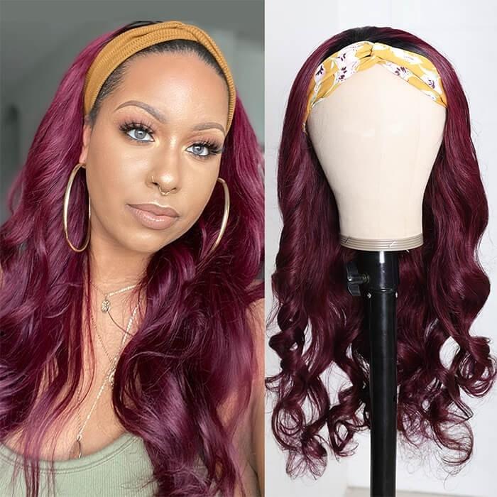 Kriyya Human Hair Headband Wig Ombre Burgundy 1B/99J Body Wave Wig 150% Density 14-26 Inch