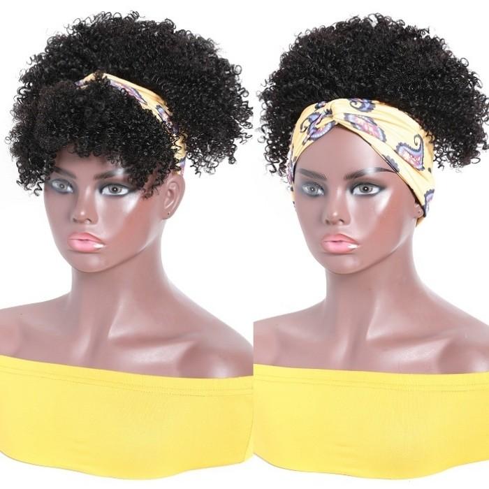 Kriyya Human Hair Headband Wigs Kinky Curly Short Wig Glueless Human Hair Wigs 150% Density 6 Inch Natural Color