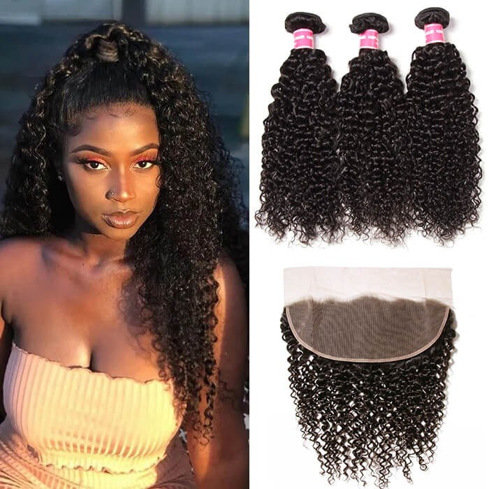 Kriyya Brazilian Virgin Hair 3 Pcs Jerry Curly With 13*4 Lace Frontal