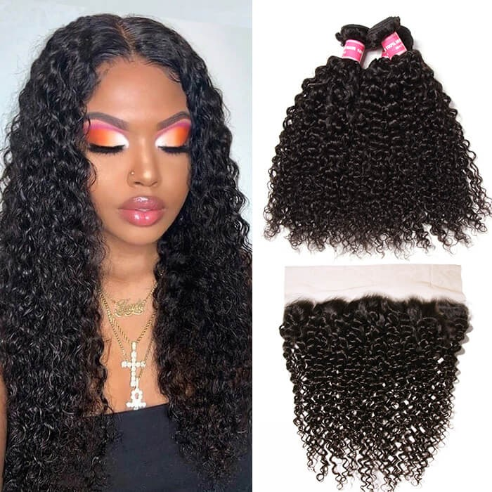 Kriyya 3 Bundles Jerry Curly Human Hair Weave With 13*4 Lace Frontal Indian Hair