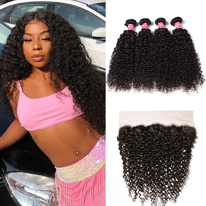 Kriyya Curly Hair 4 Bundles With Lace Frontal Indian Virgin Human Hair