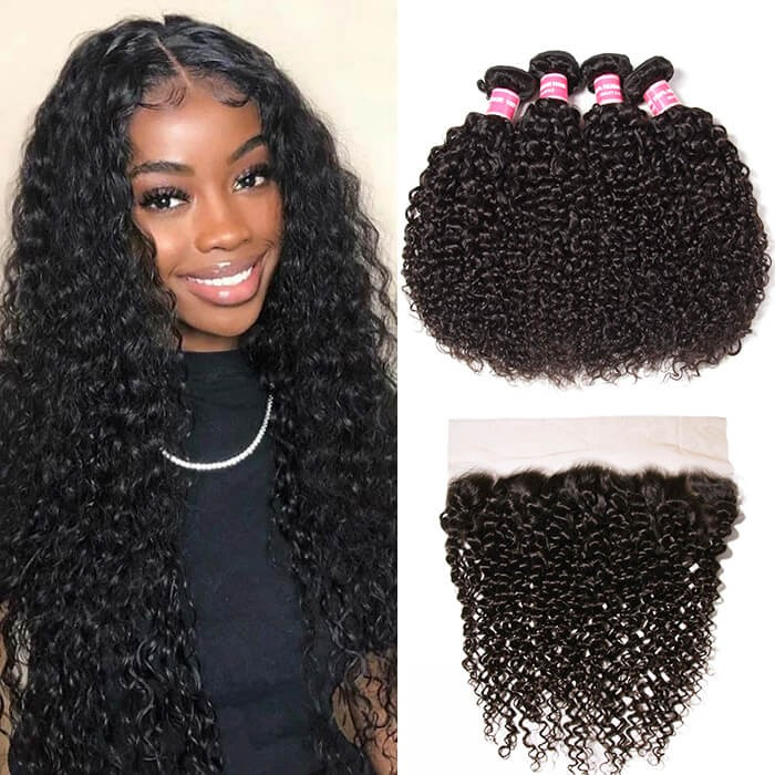 Kriyya Malaysian Curly Hair Weave 4 Bundles With 13x4 Lace Frontal