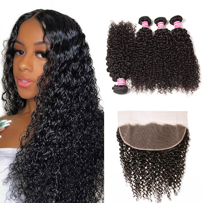 Kriyya Peruvian Jerry Curly Virgin Hair 4 Bundles With 13x4 Ear To Ear Lace Frontal
