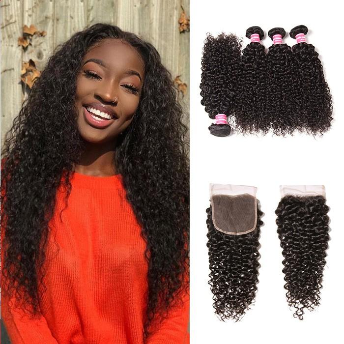 Kriyya Peruvian Hair Jerry Curly 4 Bundles With 4X4 Lace Closure