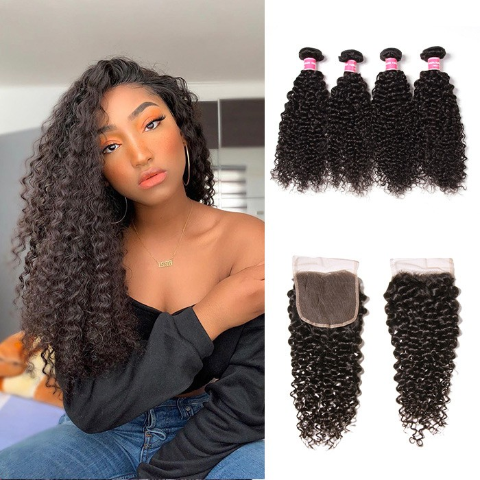 Kriyya Malaysian Hair Weave Curly Hair 4 Bundles With 4X4 Lace Closure Natural Color
